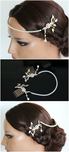 Wedding Forehead Band Pearl Halo Headpiece Matt Gold Leaves Bridal Hair Accessory ASHER