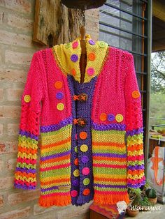 Crochet Coat, Crochet Clothes, Clothes Crafts, Beautiful Crochet, Wool Sweaters, Boho Fashion, Free Pattern, Textiles, Pullover