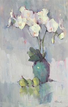 Orchid Dance by Nancy Franke Acrylic ~ 36 x 24 Acrylic Flowers, Oil Painting Flowers, Abstract Flowers, Floral Paintings, Oil Paintings, Still Life Flowers, Acrylic Pouring Art, Still Life Art, Flower Art