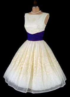RESERVED for Kinora-Vintage 1950's 50's Ivory White Snow Princess Flocked Glittered Chiffon Purple Cummerbund Cocktail Party Wedding Dress