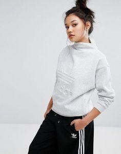 adidas Originals Nyc Grey High Neck Trefoil Sweatshirt