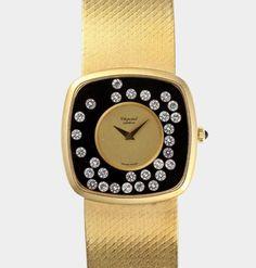 Damenarmbanduhr, Chopard, Happy Diamonds, Uhr und Original-Ansatzband in 18 K GG, mattiert, frei bew