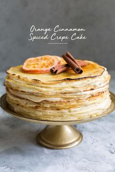 This orange cinnamon spiced crepe cake has 22 crepe layers and 21 layers of spiced pastry cream. That's 43 layers in each bite! Just Desserts, Delicious Desserts, Dessert Recipes, Pancake Recipes, Waffle Recipes, Breakfast Recipes, Beignets, Pumpkin Chocolate Chip Cookies, Chocolate Chips