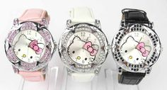 GO SPORTY HELLO KITTY CRYSTAL WRIST WATCH GIRLS KIDS XMAS GIFT CHILDS BOXED