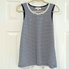 Carol Taylor Striped Sleeveless Tank .Gently worn  Silver trim around neck in front  No stains or rips  stitching in tact  clean with a few tiny from laundry  Very soft and comfy! Carol Taylor Tops Tank Tops
