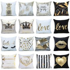 Note:All cushions do not include cushion core. Cushion cover ( cushion insert not included,no filling).The Band Is Very Comfortable, The Cushion cover Can Be Used In Various Ways, Fully Satisfy Your Need. Cushion Cover Designs, Cushion Covers, Decorative Pillow Cases, Throw Pillow Cases, Black White And Gold Bedroom, White Pillow Covers, Gold Pillows, Throw Cushions, My New Room