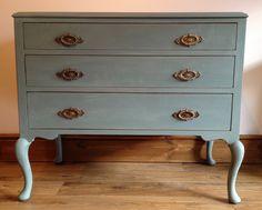 duck egg blue, chalk paint refurbished chest of drawers Blue Chest Of Drawers, Blue Chests, Duck Egg Blue, Hand Painted Furniture, Bespoke Furniture, Furniture Restoration, Chalk Paint, My Dream Home, Vintage Shops