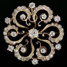 Antique 14K Yellow Gold 3.59ctw Old Mine Diamond Open Flower Pin Brooch Pendant