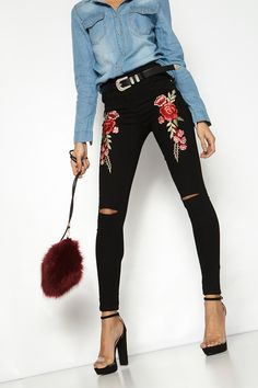 Tasha Black Floral Embroidered Ripped Skinny Jeans