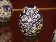 Beautiful dark blue and cream easter egg/pysanka