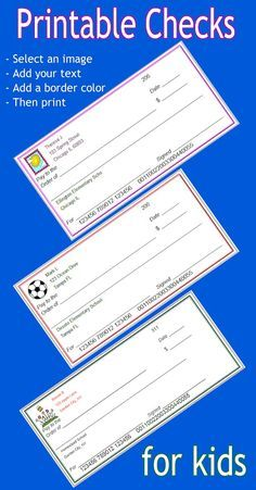 FREE printable checks for kids that you can customize. Add an image, child's name and bank information. These are play checks and should use made up information. Great tool for teachers or parents.