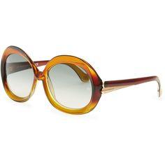 Oversized Round Sunglasses, Transparent Brown Gradient - Balenciaga