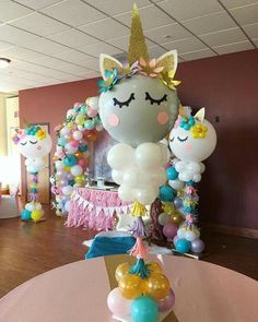Balloons add some different look in any type of room decoration whether it is birthday or some different kind of celebration parties. Here are some diy balloon decoration ideas for you. Birthday Party Centerpieces, Balloon Decorations Party, Balloon Centerpieces, Masquerade Centerpieces, Wedding Centerpieces, Unicorn Themed Birthday Party, 1st Birthday Parties, Unicorn Centerpiece, Unicorn Balloon