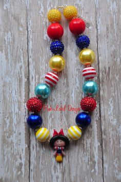 Snow White Inspired Chunky Bead Necklace by PinkLabelDesign, $25.00