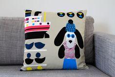 Marimekko LaivaKoira pillow cover in grey blue by lanuitduhusky, €30.00 - love this print for Seattle living :)