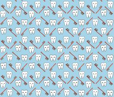 Happy Teeth - Sky Blue and Red by Andrea Lauren fabric by andrea_lauren on Spoonflower - custom fabric