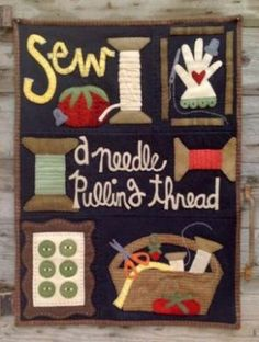 """Wool applique quilt has 5 blocks and will finish at 29"""" x 35"""""""