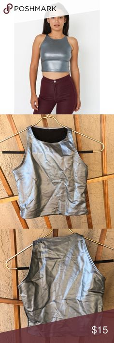 American apparel silver could crop tank Crop top size small. Form fitting never worn, great condition American Apparel Tops Crop Tops