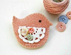 Pink Bird Brooch  Handstitched  Wool Bird Brooch by WinterOwls, $22.00