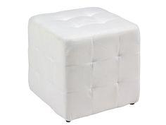 Puf cuadrado color blanco. www.actuadecor.com