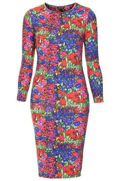 Vintage Floral Print Midi Bodycon Dress - #topshop