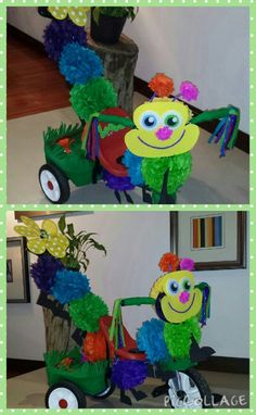 "Primavera. Triciclo adornado. ""MONTANDO A LA ORUGA"" Fun Crafts For Kids, Projects For Kids, Arts And Crafts, Bike Parade, Spring Festival, Food Coloring, Holidays And Events, Classroom Decor, Activities"