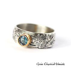 GOSIA CHRUśCIEL-WANIEK - Srebrny pierścionek z topazem London Blue