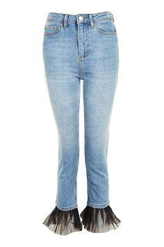 MOTO Tulle Hem Straight Leg Jeans - Jeans - Clothing - Topshop