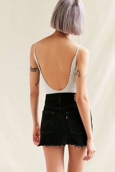 Urban Renewal Recycled Low Rise Dark Denim Mini Skirt - Urban Outfitters