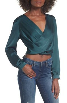 Free shipping and returns on ASTR the Label Satin Crop Faux Wrap Top at Nordstrom.com. Date nights call for something a bit more alluring—and this silky faux wrap top in a cropped length is sure to make a statement.