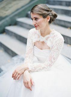 Delicate + romantic lace bridal bolero: http://www.stylemepretty.com/2016/02/17/trending-bridal-boleros-thatll-blow-your-mind/