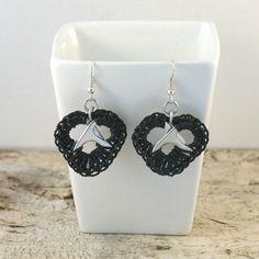 black pop tab heart earrings