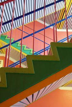 Danish-born artist Poul Gernes (1925-1996) stairway school Gentofte, Danmark.