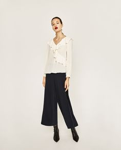 Image 1 of FLOWING V-NECK BLOUSE from Zara