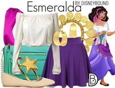 Disney Bound: Esmeralda (The Hunchback of Notre Dame) Disney Bound Outfits Casual, Cute Disney Outfits, Disney Dress Up, Disney Themed Outfits, Disneyland Outfits, Disney Fun, Disney Style, Disney Clothes, Disney Character Outfits