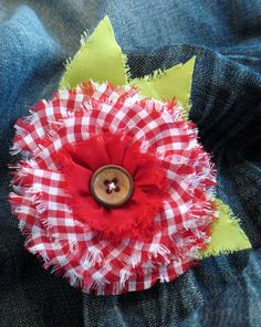 frayed gingham flower pin