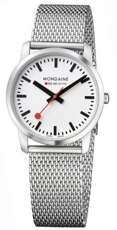 Mondaine A672.30351.16sbm brushed stainless steel case, sapphire mineral glass crystal, white dial with black hands and markers
