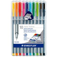 Get super-fine pens in 10 popular colors! These pens have a metal-clad tip and an ergonomic...