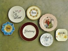 Seven Deadly Sins hand painted vintage plate by trixiedelicious