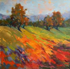 Hillside Blaze of Wildflowers by Trisha Adams Oil ~ 30 x 30