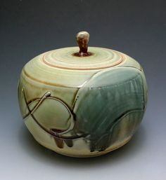 "Man Ho ""Billy"" Cho : Cover Jar 2011 Wheel throwing White stoneware with Slip Decorating, sprayed with multiple glaze."