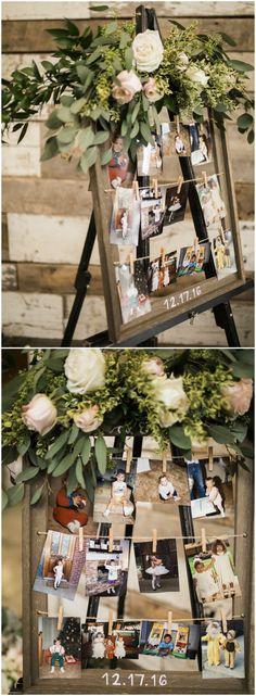 Photo display board, childhood photographs, wedding décor, wood frame, greenery // Sarah Nichole Photography