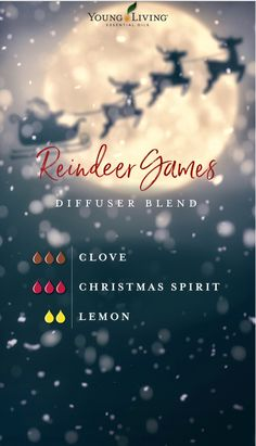 Reindeer Games Thieves Essential Oil, Essential Oil Scents, Essential Oil Perfume, Essential Oil Diffuser Blends, Essential Oil Uses, Young Living Essential Oils, Emergency Room, Essential Oils Christmas, Essential Oil Combinations