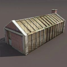 Greenhouse Old Low Poly 3d Model by Cerebrate | 3DOcean Buy Greenhouse, House 3d Model, Skylight Window, 3d Cad Models, Low Poly 3d Models, 3d Architecture, 3d Design, 3 D, Brick Building