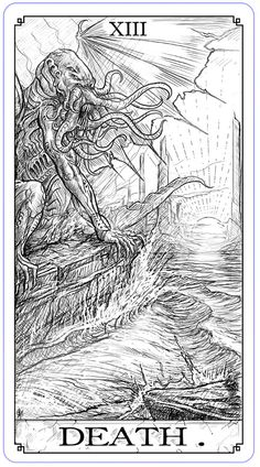 Shane Tyree is raising funds for Call of Cthulhu: The Writhing Dark - Playing Cards and Tarot on Kickstarter! The artist behind Albino Dragon's Playing Cards brings you a terrifying vision of the Cthulhu Mythos.The Writhing Dark. Hp Lovecraft, Lovecraft Cthulhu, Cthulhu Art, Call Of Cthulhu, Cthulhu Tattoo, Arte Horror, Horror Art, Necronomicon Lovecraft, Eldritch Horror