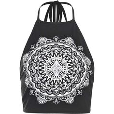 Boohoo Bonnie Ethnic Print Halter Tie Crop Top (€8,96) ❤ liked on Polyvore featuring tops, crop tops, shirts, tank tops, black crop top, halter crop top, print crop top, crop shirts and halter shirts