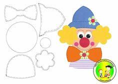 Nany Arts: Zagrożenia i szablony Clown Crafts, Circus Crafts, Carnival Crafts, Felt Patterns, Applique Patterns, Stuffed Toys Patterns, Foam Crafts, Diy And Crafts, Paper Crafts