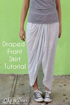 Sewing Skirts Draped Skirt Tutorial - make this wardrobe staple - it's actually easy! - Sewing tutorial from Melly Sews - Make a draped skirt with this easy tutorial - Melly Sews Diy Clothing, Sewing Clothes, Drape Skirt Pattern, Skirt Patterns, Sarong Skirt, Diy Vetement, Skirt Tutorial, Tutorial Sewing, Patron De Couture