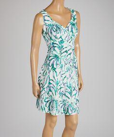 Green & White Swirl Sleeveless Dress   zulily