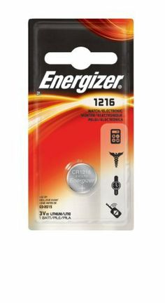 Energizer Lithium Coin Watch/Electronic Battery, Size Ecr1216BP,  (Pack of 6) by Energizer. $10.77. Energizer Lithium coin Watch/electronic Battery, size ECR1216 hi-tech minature battery for your electronics from health and fitness devices to books and games